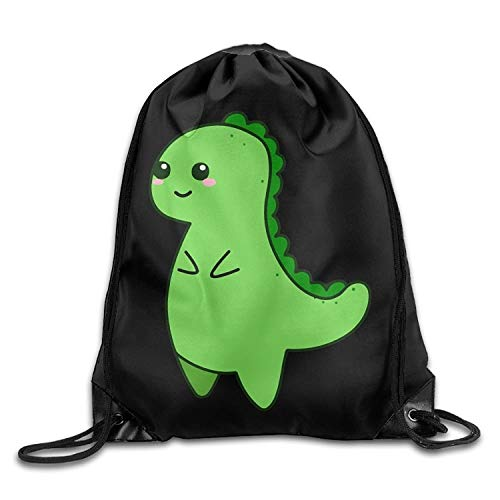 Lsjuee Kawaii Cute T-Rex Drawstring Pack Beam Mouth School Travel Backpack Rucksack Shoulder Bags for Men and Women