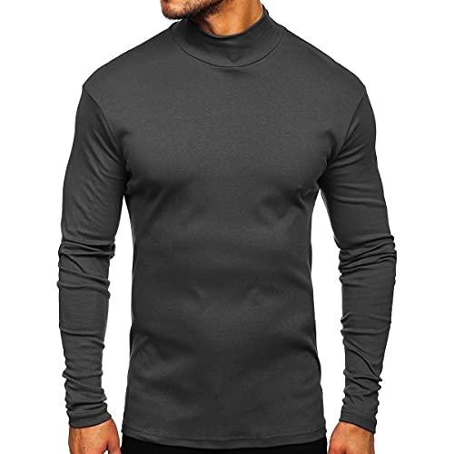 EpicLife Camiseta de manga larga para hombre con cuello de tortuga de color sólido casual slim fit sudadera tops otoño trajes, gris, XXL