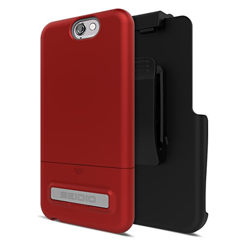 Seidio Surface with Metal Kickstand Case and Belt-Clip Holster Combo for The HTC One A9 - Garnet Red