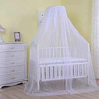 Pesp Baby Infant Toddler Bed Dome Cots Mosquito Netting Hanging Bed Net Mosquito Bar Frame Palace-Style Crib Bedding Set (Mosquito Net Without Stand, White)
