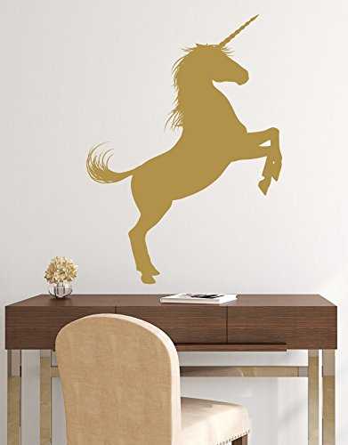 Unicorn Wall Decal Sticker. Gold Color, Large 45in Tall X 33in Wide. Fantasy Silhouette Design for Girl's Bedroom Decor. #6108m-45x33-GOLD. Facing Right