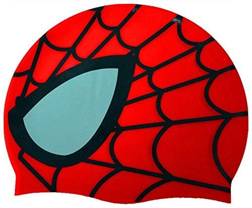 Gorras de natación para niños, gorro de natación de silicona impermeable, unisex, patrón de Spiderman para niños y niñas