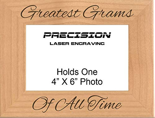 Grandma Gram Gift Greatest Grams of All Time Engraved Wood Picture Frame - 4x6 5x7 - Mothers Day, Gift from Grandson, Granddaughter