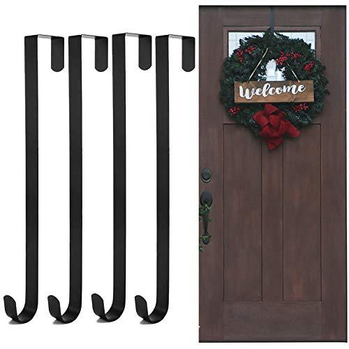 4 Stück Kranz Aufhänger Weihnachtskranz Türhaken,38.5cm Weihnachtskranz Türhänger Weihnachten Wandhaken Kranzhalter Hang Dekoration ohne Bohren Metallkranzhaken über der Tür Weihnachtsdekoration