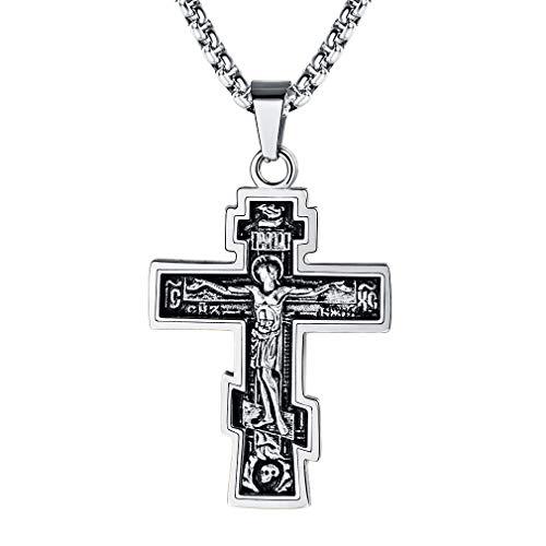 {pia} colgante cruz de acero inoxidable 4,1 cm Cross brillante pulido para collares