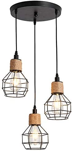3-Lights Max 40% OFF Tampa Mall Metal Chandelier Industrial Cage Light Ceiling Hanging
