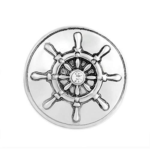ANDANTE CHUNK Click-Button bottone automatico * * timone a forma di timone con cristallo * * Per Chunk bracciali, anelli Chunk, portachiavi Chunk e altri accessori Chunk + Sacchetto In Organza