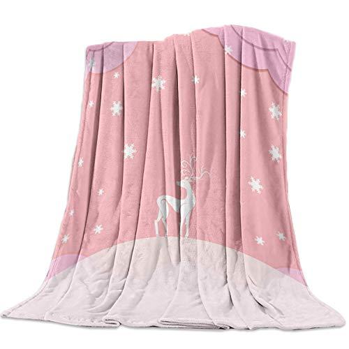 Yaxinduobao Ultra Soft Flannel Fleece Bed Manta Christmas Snowflakes Pink Reindeer Throw Manta All Season Warm Fuzzy Light Weight Cozy Plush Mantas for Living Room/Bedroom 60' x 80'