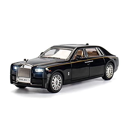 Kits Juguetes Modelos Coches De Moda para Rolls Royce Phantom 1:24 Simulación De Aleación De Metal Sonido Y Luz Pull Back Modelo De Coche Colección para Niños Expresión De Amor (Color : Negro)