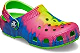 Crocs Kids' Classic Tie Dye Clog   Slip On Shoes for Boys and Girls , Neon Green, J3 US Little Kid