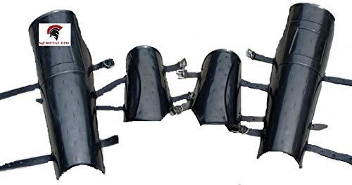 Traje de Halloween medieval histórico de acero brazo y pierna guardias