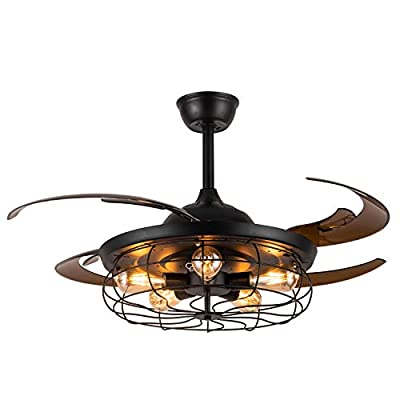 "Moooni 48"" Reverse Industrial Retro Ceiling Fans with Lights and Remote Vintage Caged Chandelier Fans Invisible Chandelier Fan Light Kit Fandelier for Bedroom Dining Room Office Farmhouse Black"