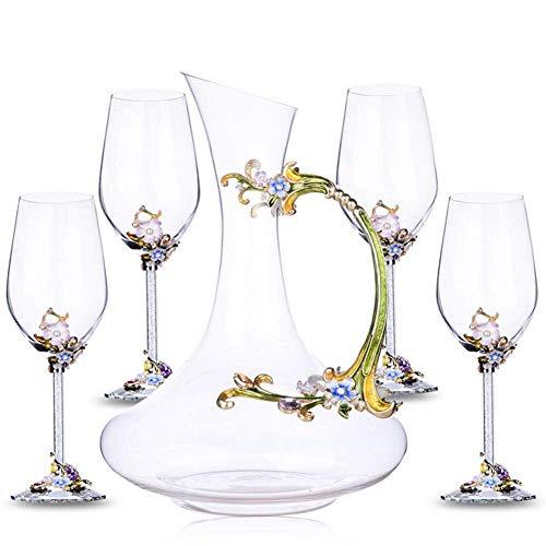 1,5L Carafe à Décanter le Vin en Cristal Carafe à Vin Rouge Avec 4 Verres à Vin Rouge (350Ml) - 100% Verre Sans Plomb Soufflé à La Main, Bouteille de Whisky, Cadeaux de Vin, Accessoires de Vin