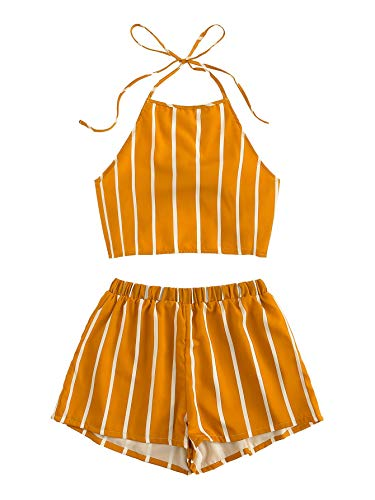 SweatyRocks Women's Striped 2 Piece Outfits Halter Crop Cami Top and Shorts Set Mustard M