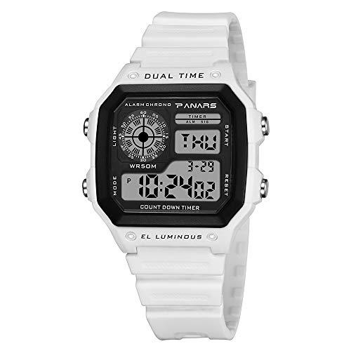 Orologio sportivo multifunzione da uomo impermeabile orologio elettronico moda quadrata, display settimanale, sveglia, calendario perpetuo, conto alla rovescia, display mensile
