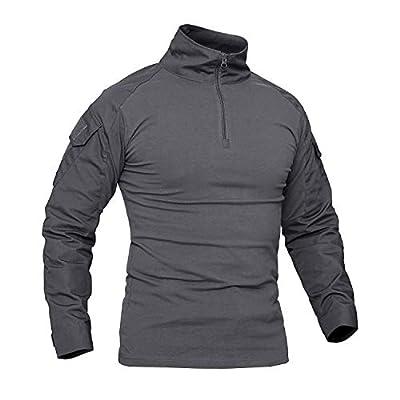 CRYSULLY Men's Summer Hiking Shirts Tactical Shirt Woodland Long Sleeve Military T Shirts for Men Gray