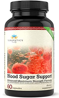 Blood Sugar Support | 20 Ingredients - Non GMO Boost Formula with Chromium Cinnamon Manganese ALA + 16 More, Glucose Control Supplement for Insulin Health Balance & Cholesterol Lowering | 60 Capsules