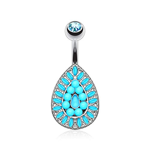 Piercing vintage navel druppel in turquoise parel - 6153