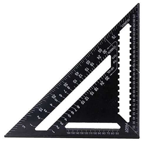 Regla triangular de aleación de aluminio para carpintero (12 pulgadas), sistema métrico/británico de 12 pulgadas, regla de medición de encuadre para herramientas de carpintería (negra)