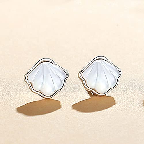 RSHJD Sterling Silver One Shell Pendientes para Mujeres, niñas, Pendientes fritillares Blancos cuelgan los Pendientes para el Regalo de la Fiesta de cumpleaños,Plata