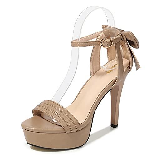 WLQWER Sandalias de Tiras de tacón Alto con Plataforma para Mujer, Zapatos de Fiesta de Noche con Lazo y Correa en el Tobillo para Mujer,Beige,39