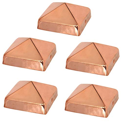 4x4 Copper Pyramid Post Caps (5-Pack) - Extended Lip - Solid Copper - Will Patina Naturally (3-1/2' x 3-1/2') (5, 4x4)
