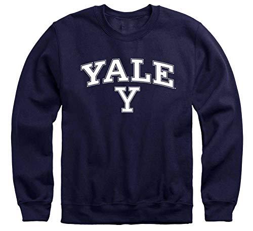 Campus Colors NCAA Adult Arch & Logo Gameday Crewneck Sweatshirt (Yale Bulldogs - Navy, Medium)