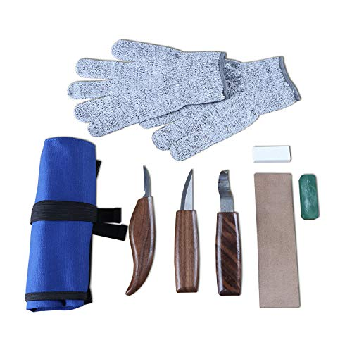 AWNIC Wood Carving Tools Kit for Benginner Gloves Wood Carving Knife Set Hook Carving Knife Detail Wood Knife Whittling Knife Leather Sheath for Spoon Bowl Cup General Woodwork 10 pcs