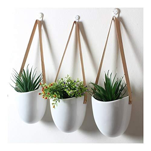 3 Serie di Vasi Appesi Ceramica Fiore, Vasi Grasse, Cinture di Pelle Appesi Arazzi Pentole (Color : White)