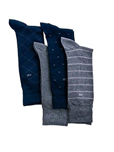 Calvin Klein Men's Classic Pattern Dress Socks 4-Pack, Navy/Grey Heather, Large
