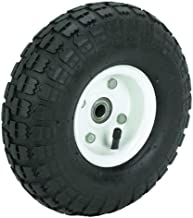 10 in. Haul-Master Pneumatic Tire on White Wheel - 4.10/3.50-4 KNOBBY TREAD