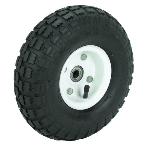 10 in. Haul-Master Pneumatic Tire on White Wheel - 4.10/3.50-4 KNOBBY TREAD
