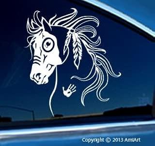 Horse Decal - WAR HORSE - Equestrian -I Love my Horse - Native American Tribal Horse Bumper Sticker Decal- LEFT. X LARGE 7.6