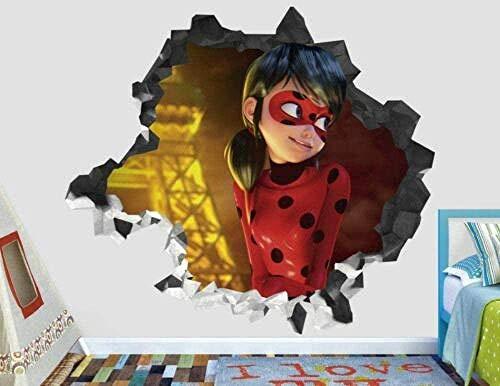 Tbagem-Yjr 3D wandaufkleber, wandsticker kinderzimmer Jungen Wandaufkleber Magie Ladybug Wandtattoo Dekoration Kinder Smashed 3D Aufkleber-Kunst-Vinyl fototapete 3D Effekt