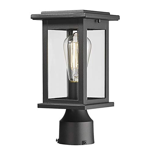 Outdoor Post Light Fixtures, HWH Exterior Pillar Latern Pole Lamp in Matte Black Finish with Clear Glass Shade, 5HD37P BK