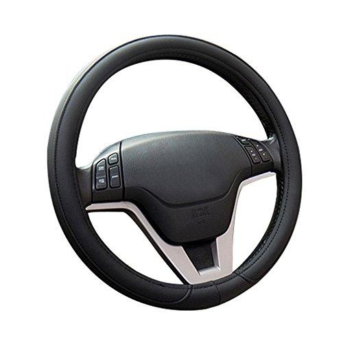 MFBEE Automotive Leder Lenkradabdeckung Universal Atmungsaktive Anti-Rutsch-Schutzabdeckung Vier Jahreszeiten Universal 38CM Schwarz,Black