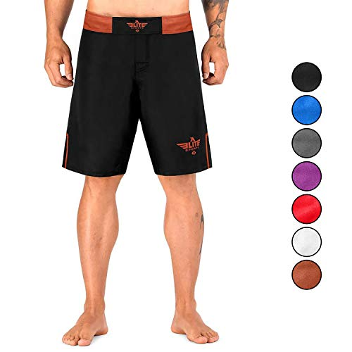Elite Sports Men's MMA Fight Shorts, Black Jack UFC, BJJ, No Gi, Grappling, Jiu Jitsu Shorts (Brown, Large)