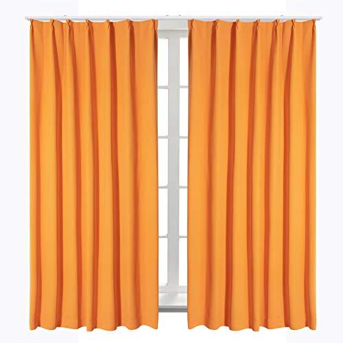 Bedsureカーテン1級遮光小窓ドレープカーテンオレンジ幅100cm丈110cm2枚組断熱保温省エネおしゃれ昼夜目隠し遮光カーテン高級感のある生地リビングルーム