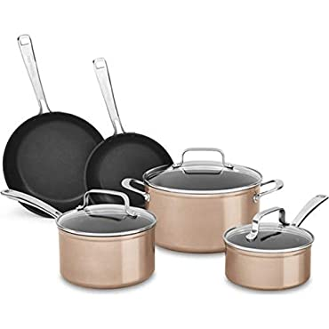 KitchenAid 8-Piece Hard Anodized Nonstick Toffee Delight Cookware Set