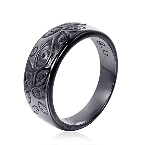 USUASI Anillo de ojo de demonio de acero inoxidable diseño clásico de pieza negro