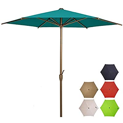 Ogrmar 9 FT Patio Umbrella Outdoor Table Umbrella with Push Button Tilt and Crankfor Terrace, Backyard, Garden, Courtyard, Swimming Pool, Lawn (Turquoise)