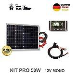 VIASOLAR Kit 50W Pro 12V Panel Solar monocristalino células alemanas