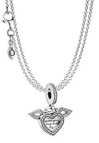 Pandora Anhänger Herz mit Engelsflügel & 2-reihige Halskette Silber 925 eleganter Halsschmuck für Damen, wunderschönes Geschenk-Set, 75614