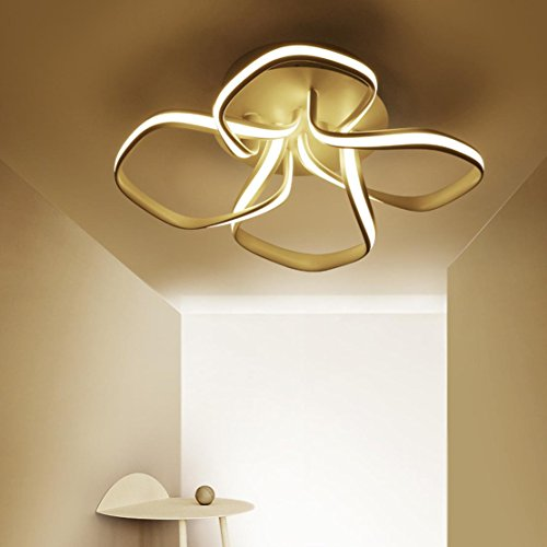 4X LED Plafonnier Moderne Lampe de Plafond Créatif Forme de Fleur Design Intérieur Décoratif Éclairage Luminaire Métal Acrylique Lustres Pour Enfants Salon Salle à manger Balcon Bar Dimmable 50W