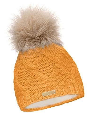 Mikos* Damen Warme Strickmütze mit Bommel   Innenfleece Bommelmütze   Fellbommel Mütze für Winter   Ski Mütze (682) (Curry)