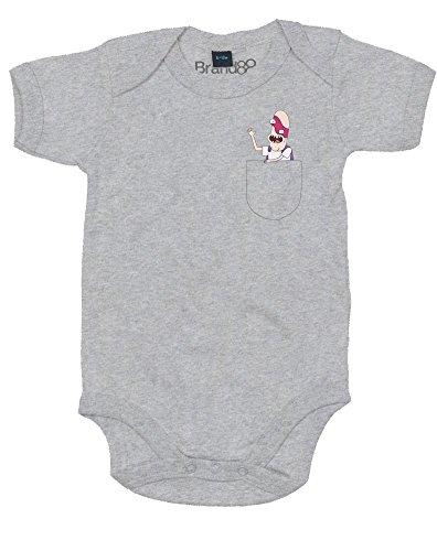 Brand88 Pocket Noob Noob, Impreso Bebé Crecer - Gris 6-12 Meses