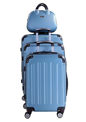 P-Collection Koffer Trolley Handgepäck Reisekoffer Hartschalenkoffer Zwillingsrollen M-L-XL-Set Dehnungsfuge 5 Farben (Blau 4er Set)