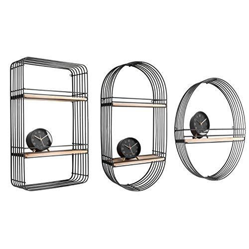 Present Time - 3 mensole da Parete, Design in Metallo con Filo, Colore: Nero