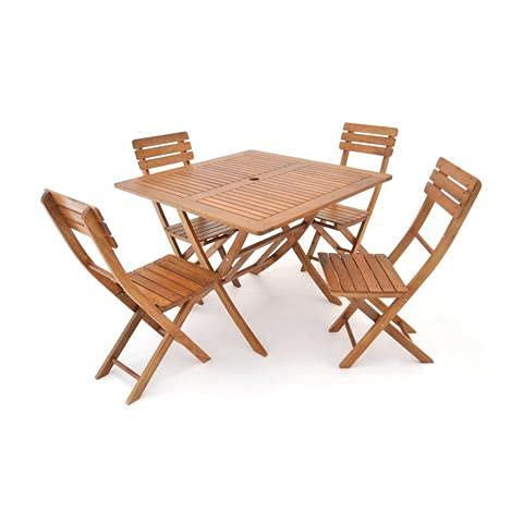 Grupo Maruccia - Juego de comedor de jardín de madera de eucalipto, cuatro plazas, plegable, mesa de jardín de madera con sillas