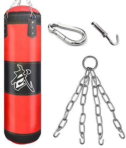 Boxsack Erwachsene Vierpunkt-Stahlkette Punchingsäcke, ungefüllt I 100 x 30 cm Punchingsäcke Kampfsport Punching Bag, Punch Sandsack, Heavy Duty Boxhaken Kick Bag für Boxtraining Fitness Sandsack Rot